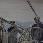 Rybacy przy sieciach, 1928 r., olej, dykta