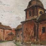 Widok dziedzińca kościoła Bernardynów w Wilnie, 1929 r.