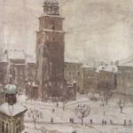Rynek krakowski z widoczną wieżą Ratusza