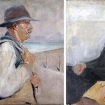 """Obraz dwustronny, awers """"Portret kobiety"""", rewers """"Podróżnik"""""""