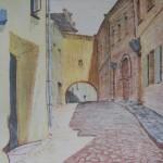 """Zaułek Kazimierzowski (Słoneczna Ulica), litografia z teki """"Wilmo"""""""